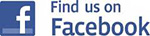 "Facebook logo with verbiage ""Find us on Facebook"""